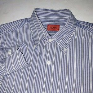 Isaia Napoli Purple White Striped Dress Shirt